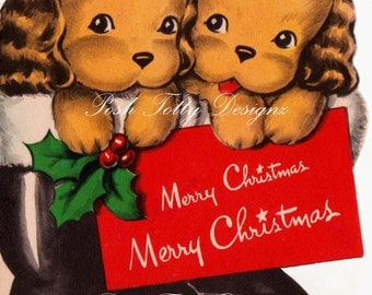 Twin Puppies Merry Christmas Vintage Greetings Card Digital Download Image(286)