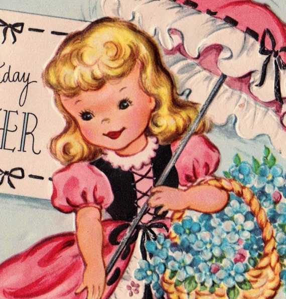 Vintage Fairfield 1950s Happy Birthday Sister Greetings Card