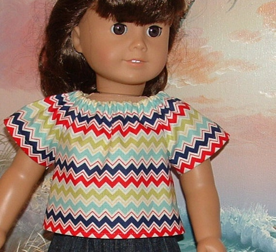 American Girl Doll Peasant Blouse Shirt in Red and Blue Riley Blake Chevron Sale