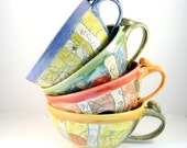 Ceramic Soup Mugs Set of Four, Unique Coffee Mugs artistic bowls handles, cappucino latte cups - oversized mug handled soup bowls
