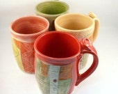 Four coffee mugs set IN STOCK - artistic carved and glazed ceramic mugs 16-20 ounce coffee cups handmade pottery