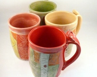 Unique coffee mugs set of four, large ceramic mugs, unique coffee mugs, pottery cups,  16-20 ounce  teacups handmade pottery mug