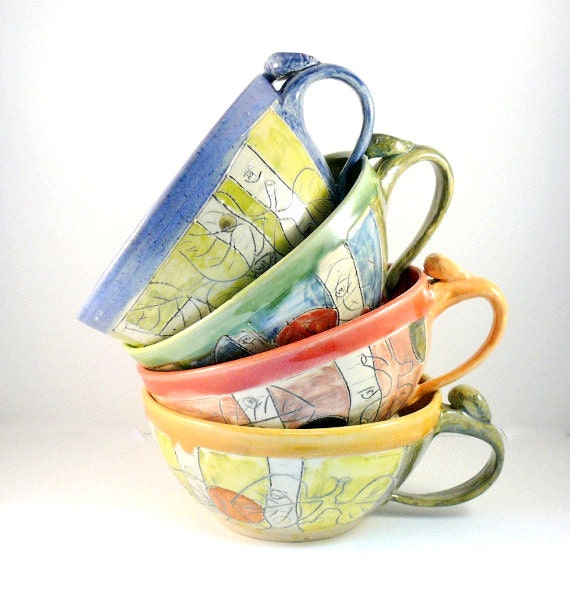 Ceramic Soup Mugs, Soup Bowls with Handles, Set of Four Unique Coffee Mugs, cappuccino latte cups, oversized mug, handled soup bowls