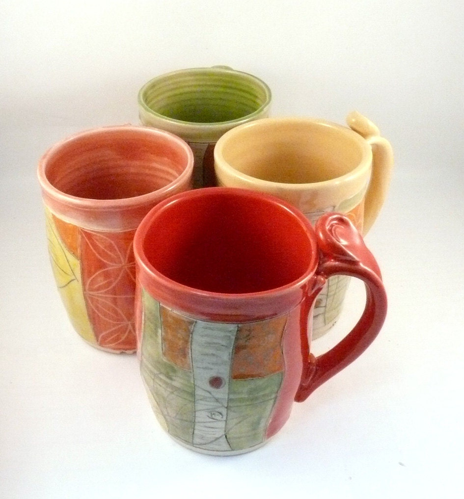 Unique Coffee Mugs Set Of Four Large Ceramic Mugs Unique: unique coffee cups mugs