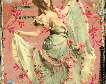 Original digital collage ephemera altered art vintage digital collage sheets digital print french paris girls