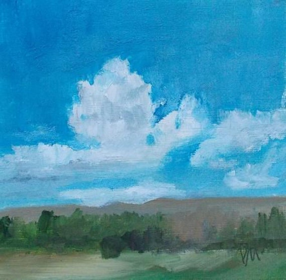 oil painting clouds blue sky