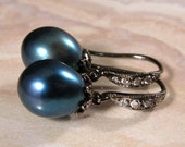 Dark teal blue pearls, black rhodium sterling earrings