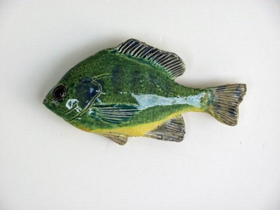 Ceramic fish bluegill sunfish decorative art wall hanging