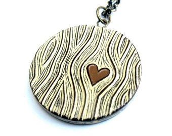 Brown and Cream Wood Grain Faux Bois Necklace with a Brown Heart Necklace - Wood You Love Me
