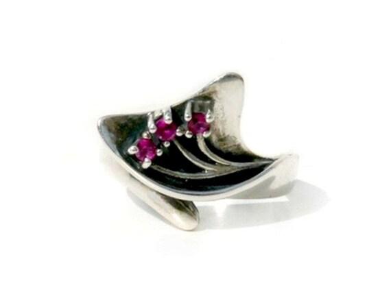 Red Ruby ring, three gemstone, sterling silver ring  July Birthstone