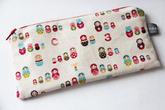Pencil case - Zipper pouch - russian dolls - matriochkas - blue - red - yellow - cream - make up - jewelry - pencils - handbag - gift