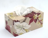 Tissue Box Cover 1950's Vintage Wallpaper Tropic Leaf Floral