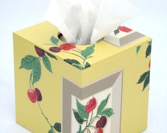 Very Cherry Tissue Box Cover 1940's Vintage Wallpaper