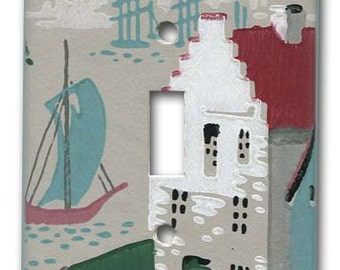 Colonial Port 1950's Vintage Wallpaper Switch Plate