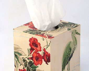 Red Trumpet Flowers with Crane Heron 1940's Vintage Wallpaper Tissue Box Cover
