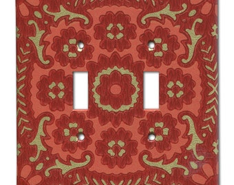Double Switch Plate 1960's Vintage Wallpaper Red and Gold Geometric Floral Medallion