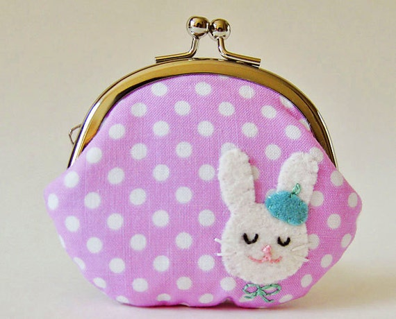 Coin purse bunny with beret on lavender polka dots