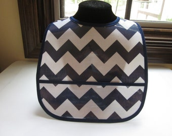 WATERPROOF WIPEABLE Baby to Toddler Wipeable Plastic Coated Bib Navy Blue and White Chevron