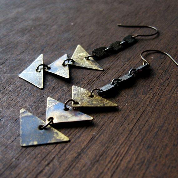 traingle arrow earrings patina mixed media vintage long dangle charm earrings