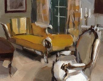 Art Print Living Room Chair Antique Chair Chaise - Yellow by David Lloyd