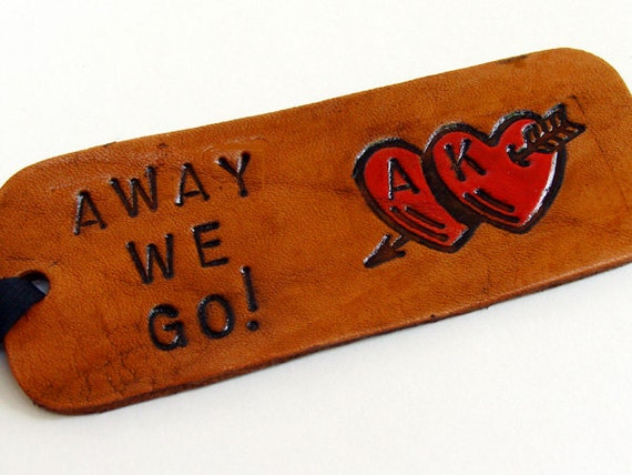 Leather Luggage Tag Personalized Away We Go