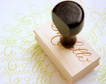 """Name in Calligraphy Hand Stamp ~ 1x2"""""""