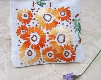 Orange Flower Embroidery Lavender Sachets