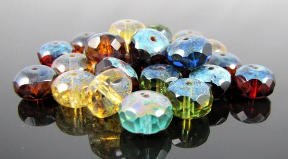 CLOSEOUT SALE for Czech Glass Faceted Gemstone Donut-Multi Color Picasso 11x7mm-25 Beads