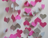 Paper Garland 16' Pink and Gray Hearts