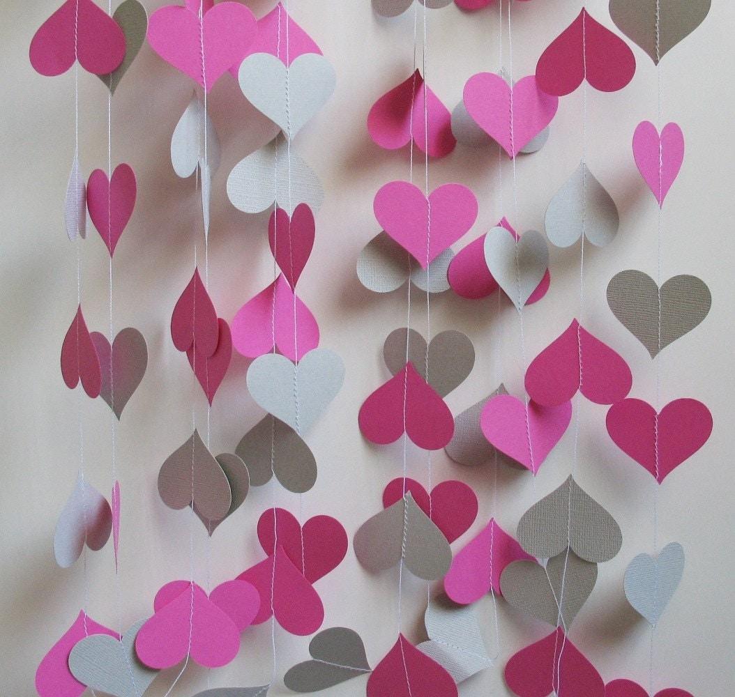 Gray And Pink Hearts: Paper Garland 16' Pink And Gray Hearts