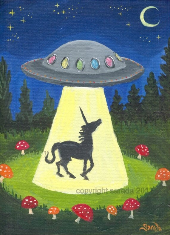 Unicorn UFO fantasy sci fi art 5 x 7 print alien by ArtBySarada
