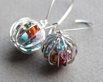 Silver Cage Earrings - Swarovski Rainbow Assortment