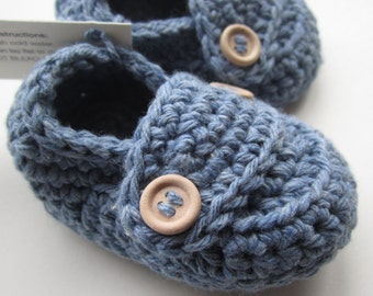 Crochet Baby Booties Cotton Little Button Loafers You Choose Size and Color