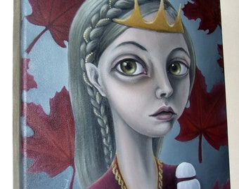October - ORIGINAL oil painting - surreal pop fantasy art - maple leaves - painted lady portrait by Tanya Bond