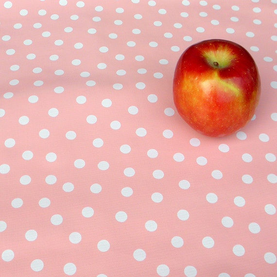 Oilcloth - Peachy Pink with Dots - remnant piece