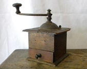 Vintage wood coffee mill, rustic French country decor