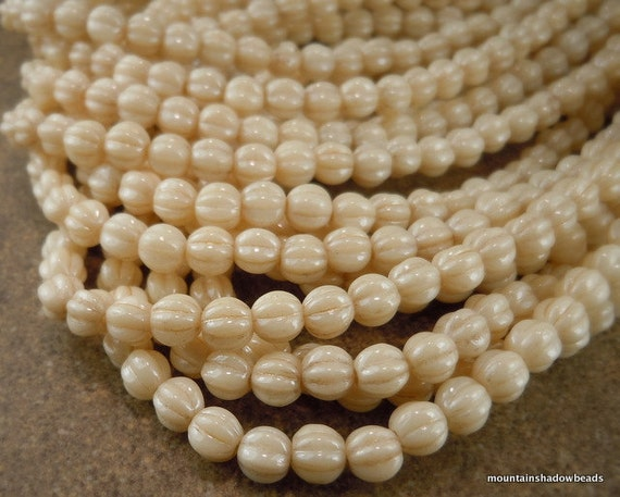 Czech Glass Beads - 5mm Melon Beads Opaque Champagne Luster 50