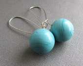 Aqua Turquoise Venetian Murano Italian Glass and Sterling Silver Earrings