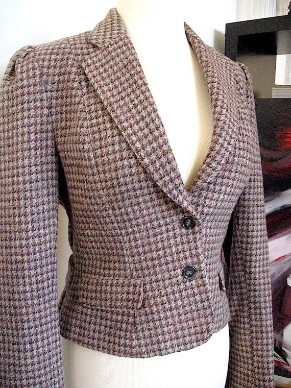 Vintage Herringbone Blazer - Womens Plaid Blazer - Riding Coat - Riding Jacket - Ralph Lauren English Style - Size 10 Womens