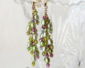 SALE Flourishing Meadows Freshwater Olive And Swarovski Purple Pearl Earrings