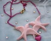 Pink Birds Necklace