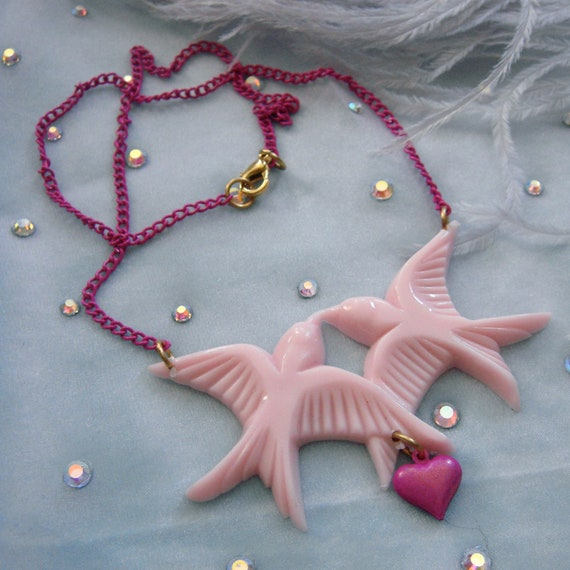 Pink Birds Necklace