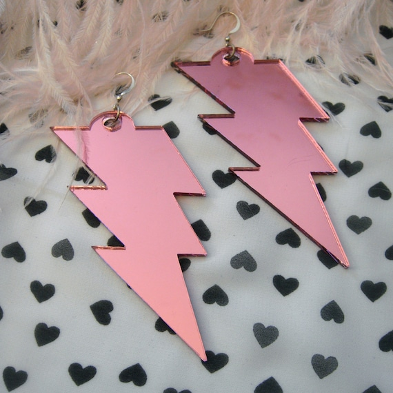 Pink Acrylic LIGHTNING BOLT Earrings