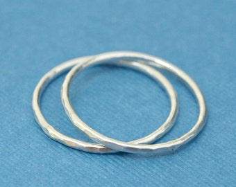 Simple Silver Rings , Sterling Silver Ring Bands, Two Hammered Silver Rings