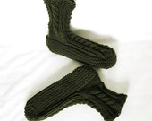Mens SlipperSocks, Olive Green Knitted, 10.5 W - 11.5 M/W, Cabled Cuff