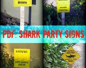 PDF: Set of 4 Shark Party Signs - Customized Digital File DIY Printable Shark Week Option