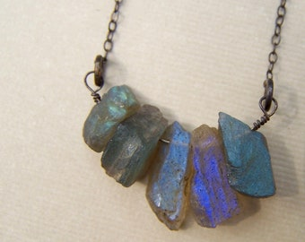 Raw Labradorite Necklace, Organic Stone Necklace, Raw Crystal Pendent Necklace, Oxidized Silver Necklace, Sister Gift