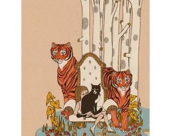 2 Tigers screenprint