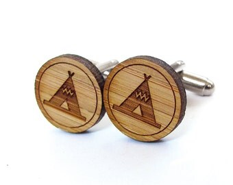 Teepee Tent Cufflinks. Camping Cufflinks. Wood Cufflinks. Groomsmen Gift. Groom Gift. Gift For Men. Mens Gift. Gifts For Dad. Gifts Under 25