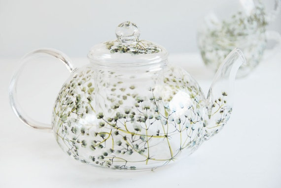 ready to ship - Hand Painted Glass Tea Set -  Babys Breath Collection